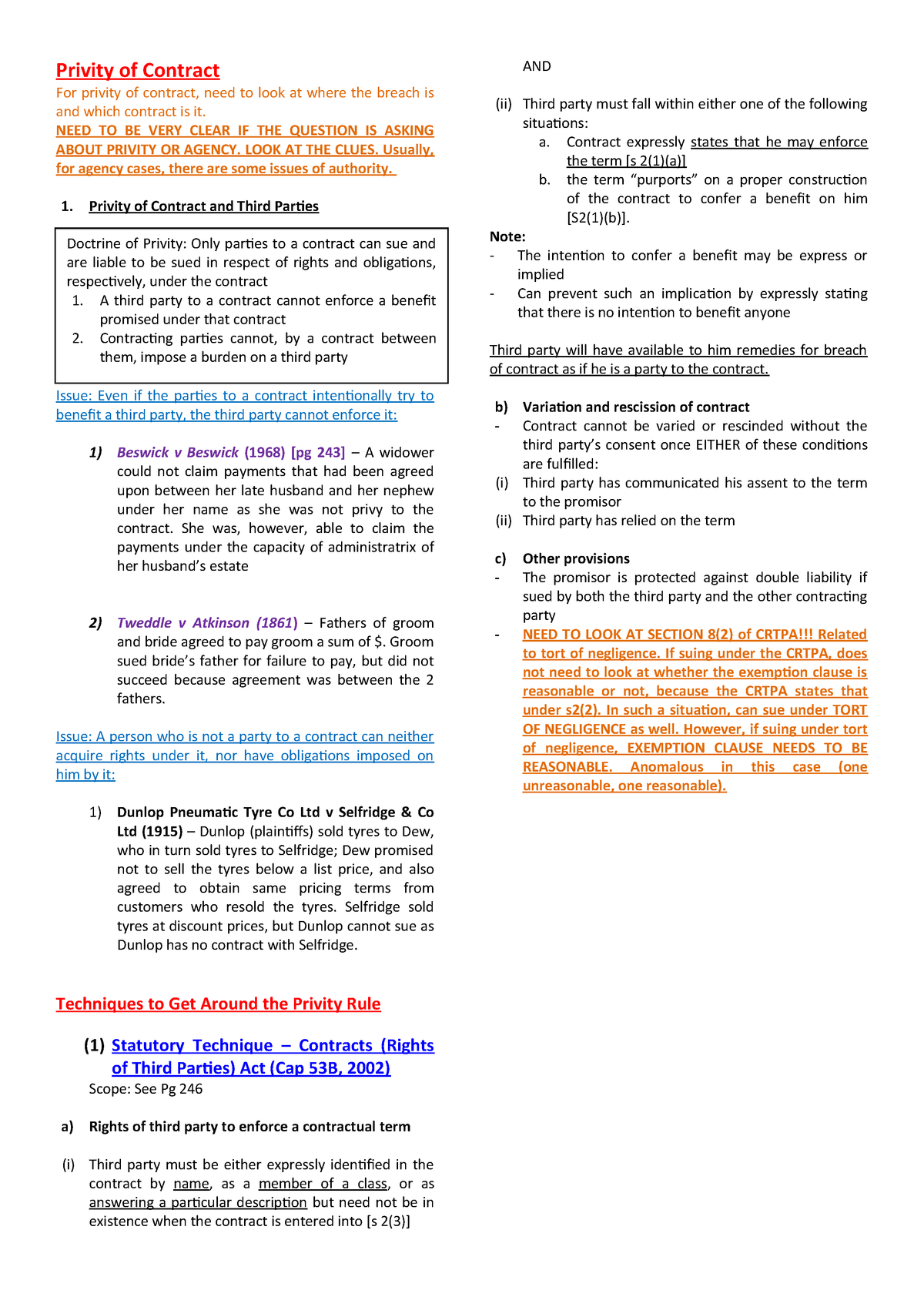 Lesson 9) Chapter 9 - Capacity and Privity - Business Law