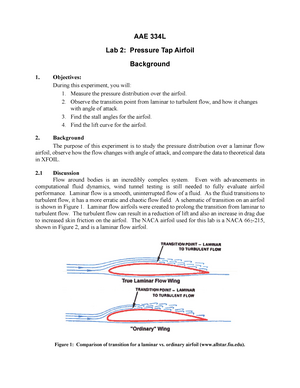 AAE 334 Lab 2 Notes - Pressure Tap Airfoil - AAE 33401: Aerodynamics
