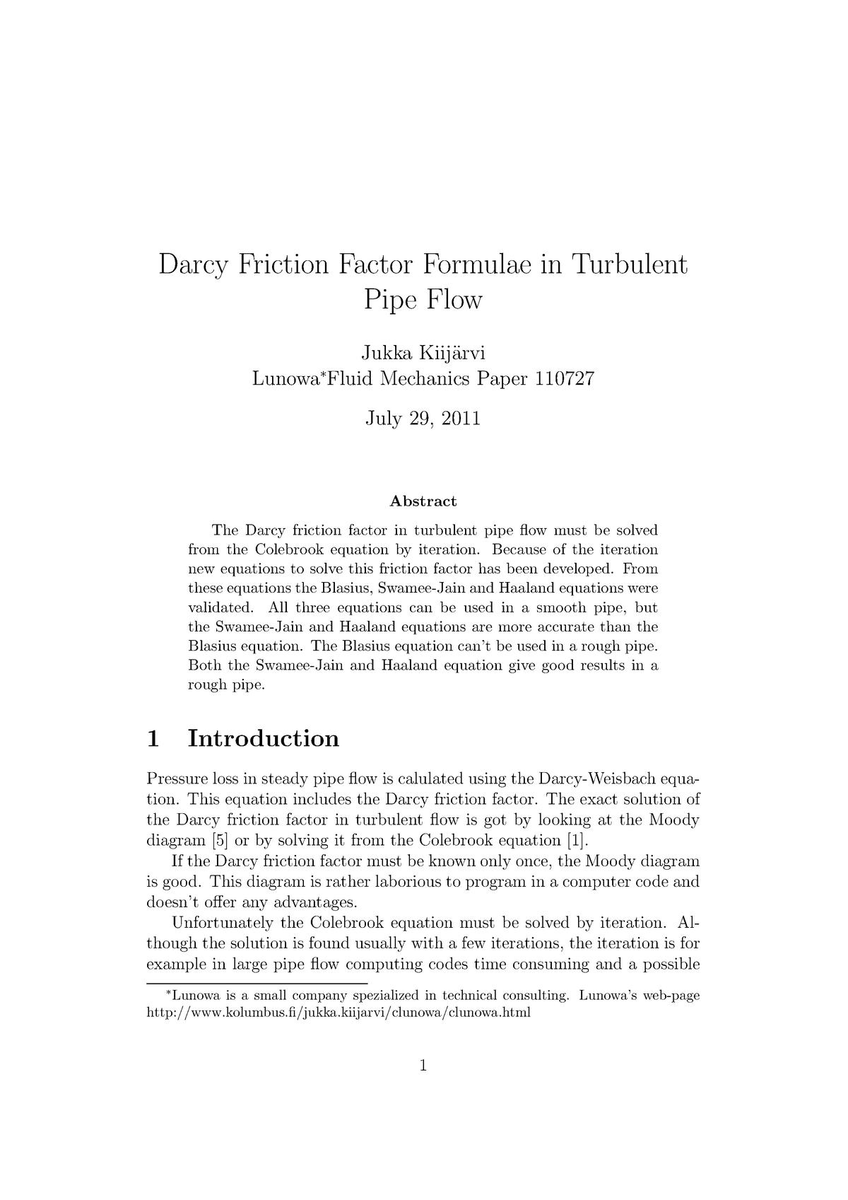 Article about 'Darcy Friction Factor Formulae in Turbulent