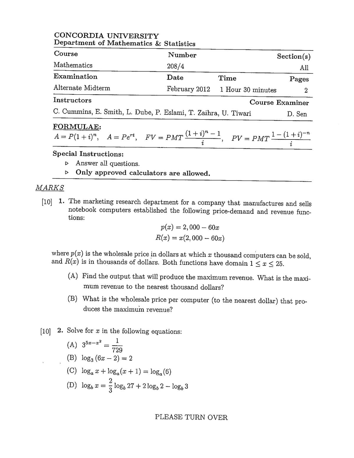 Exam 2009 - MATH 208: Fundamental Mathematics I - StuDocu