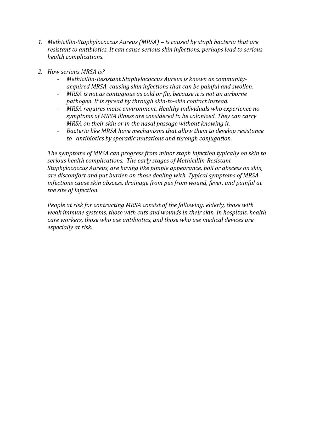 MRSA - Tutorial work on MRSA - 4016BMBMLO: Biomedical Issues and