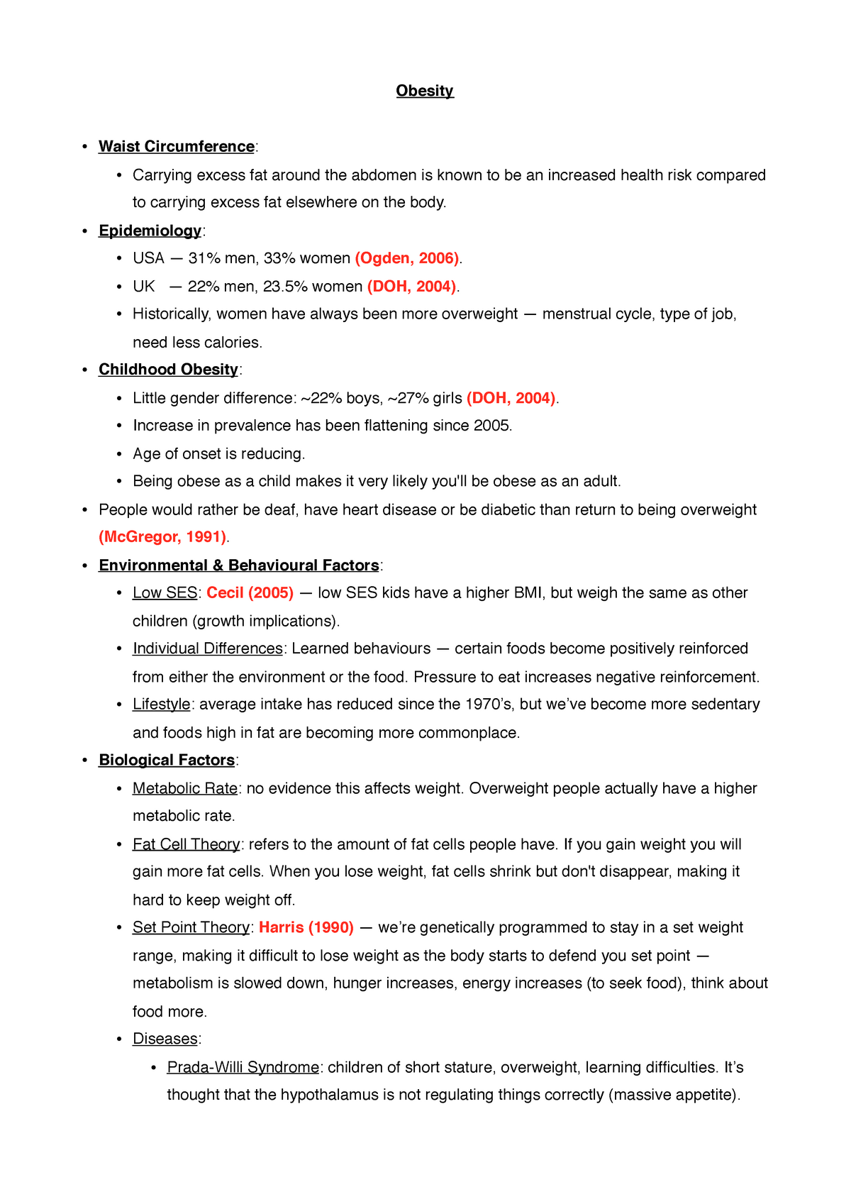 Revision Notes (All Topics) - 17PSC319: The Psychology of