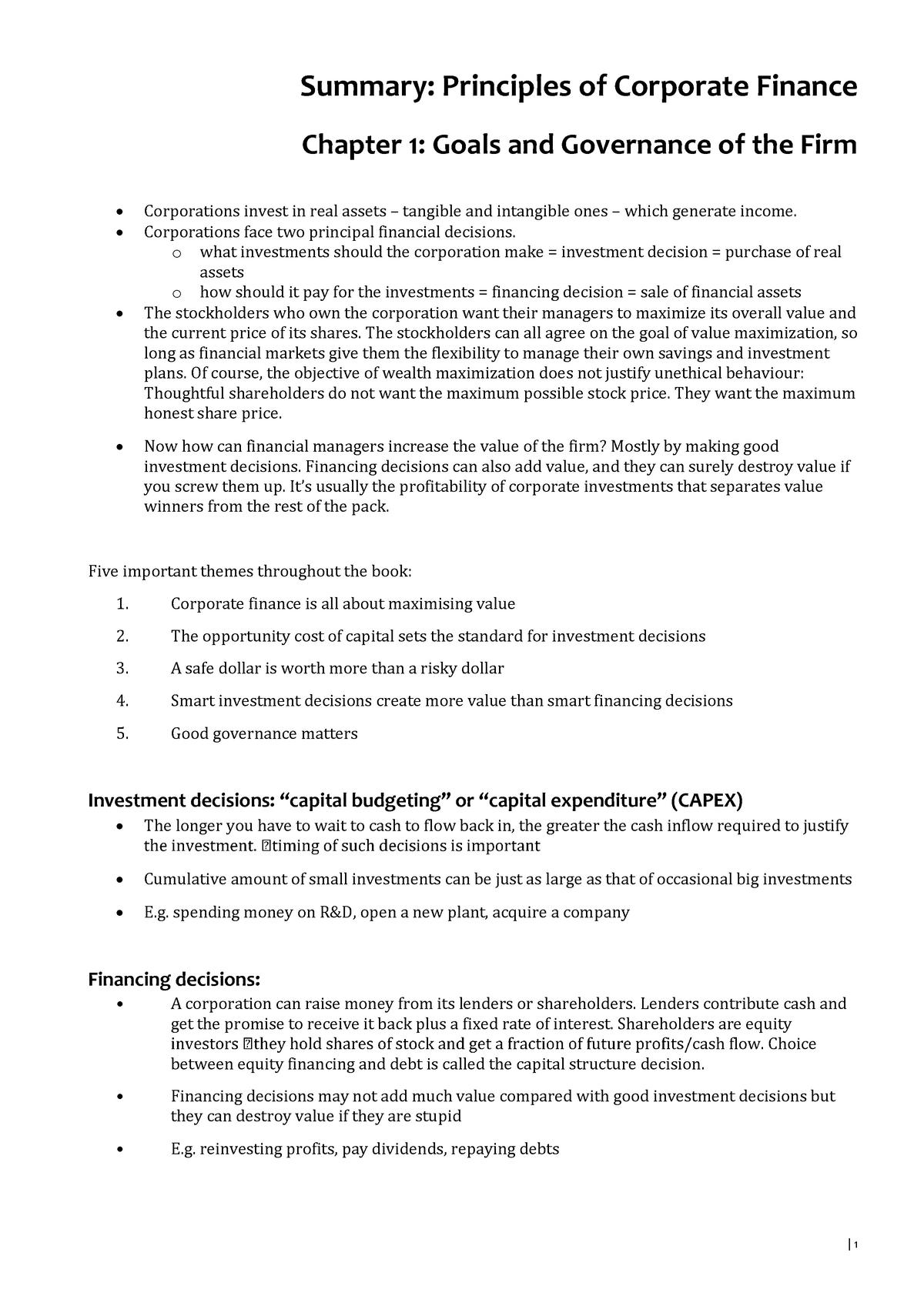Summary Principles of Corporate Finance VU Strategic - StuDocu