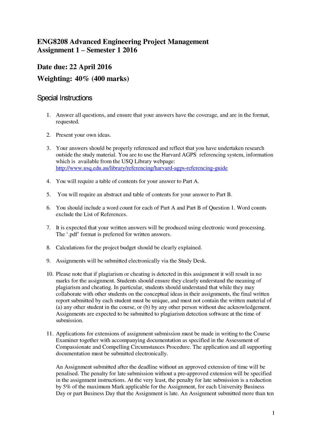 Assignments 1 and 2 - engineering project management - USQ