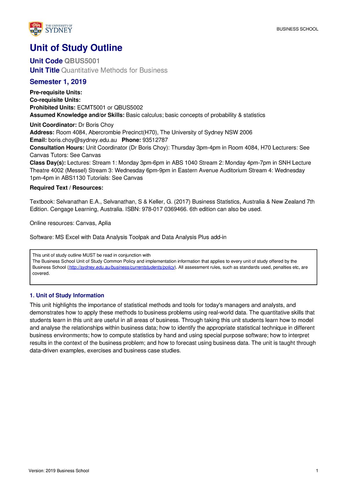 Uo S Outline QBUS5001 SEM1 2019 Approved - QBUS5001: Quantitative