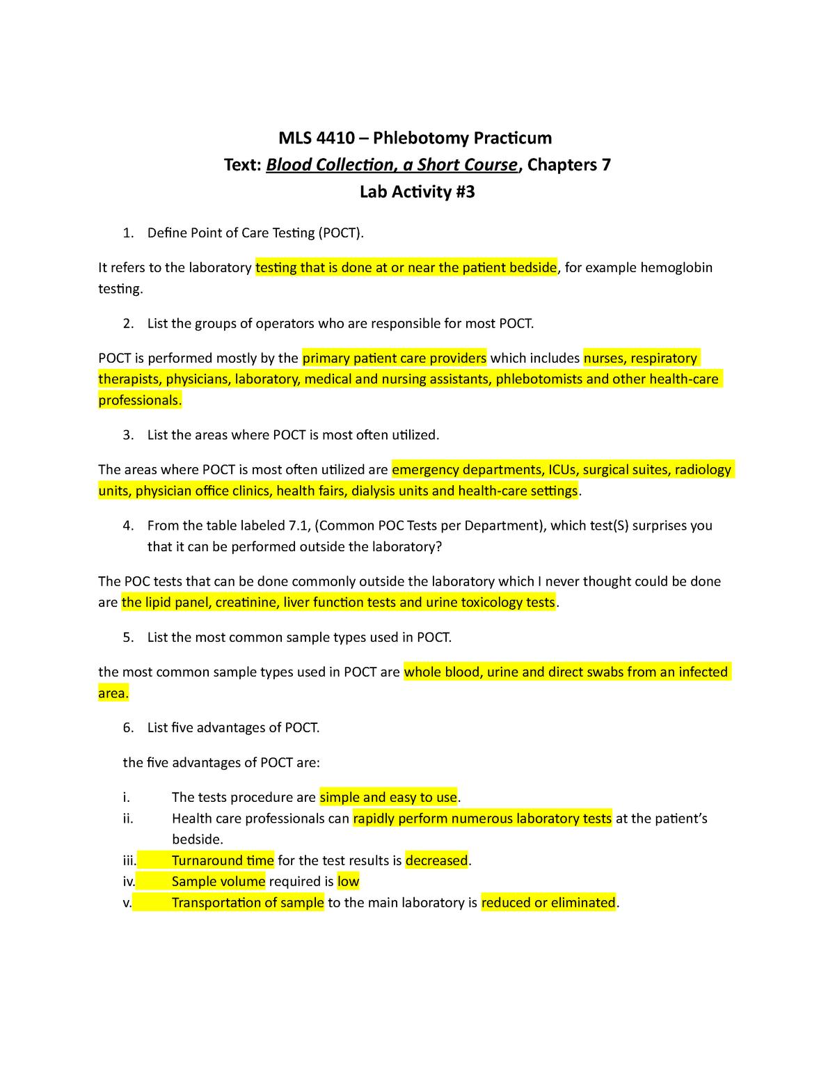 Phleb Lab3 - lab activity - MLS 4410: Phlebotomy Practicum