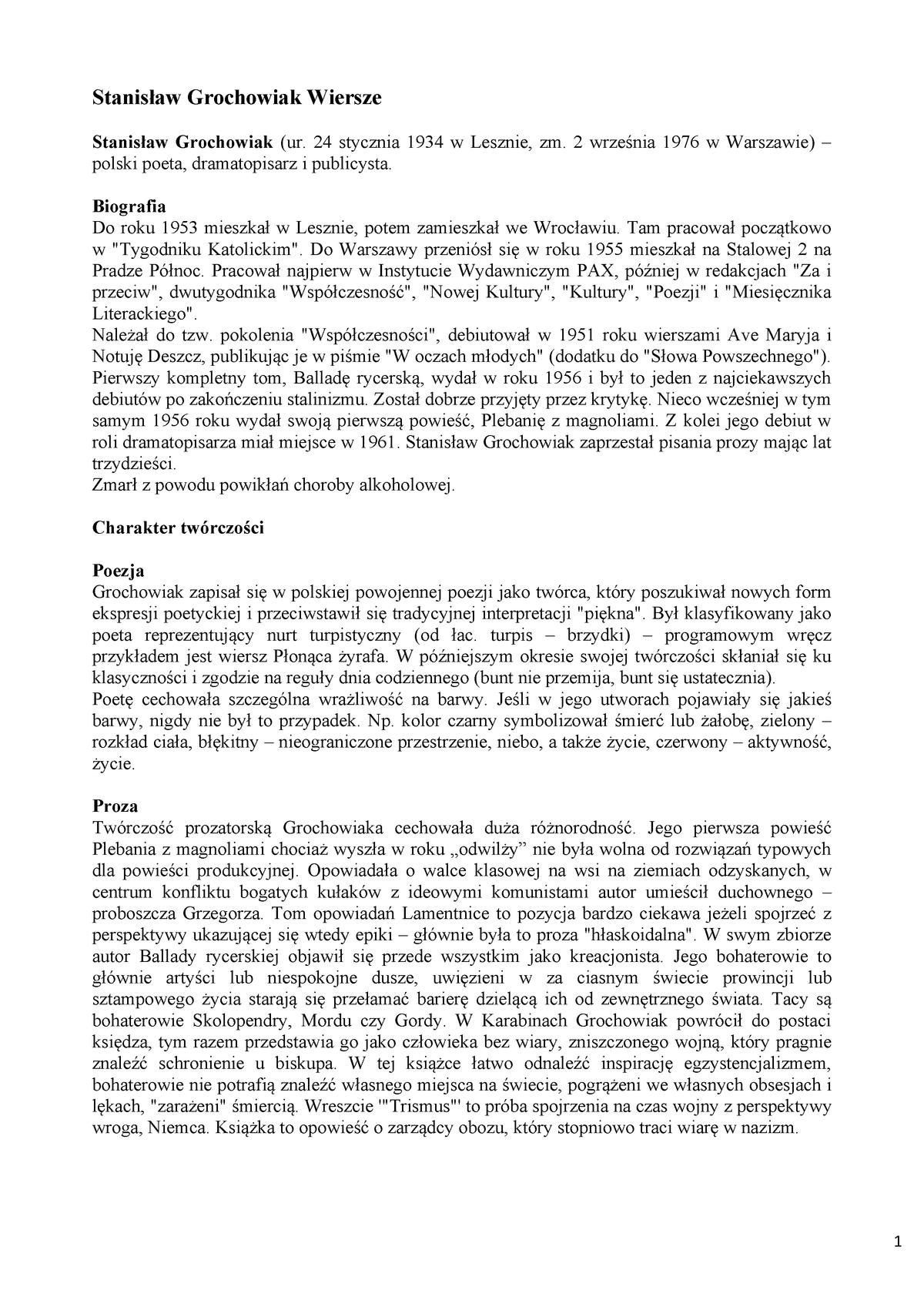 Grochowiak Stanisław Wiersze Filologia Polska Uwm