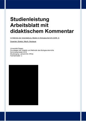 Studienleistung didaktischer Kommentar - 409570710V: Einführung in ...