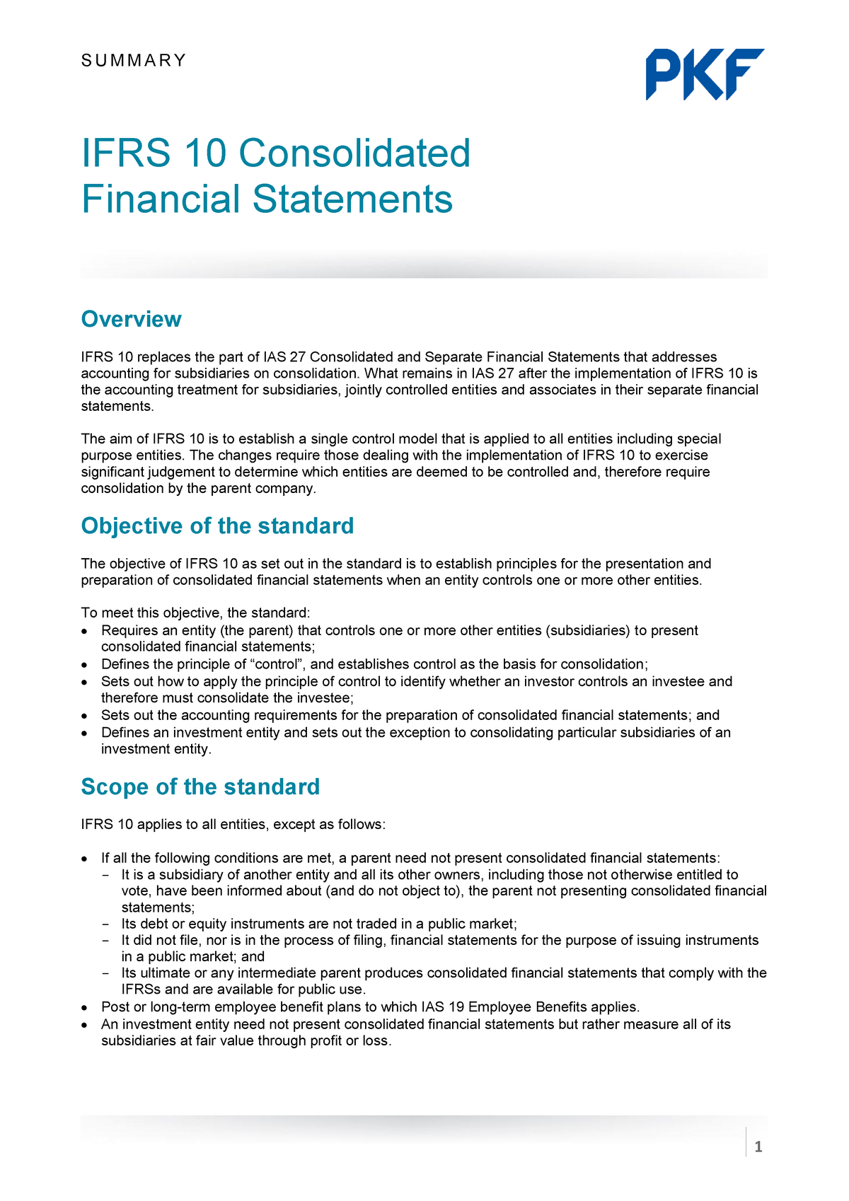 technical summary ifrs 10 investment