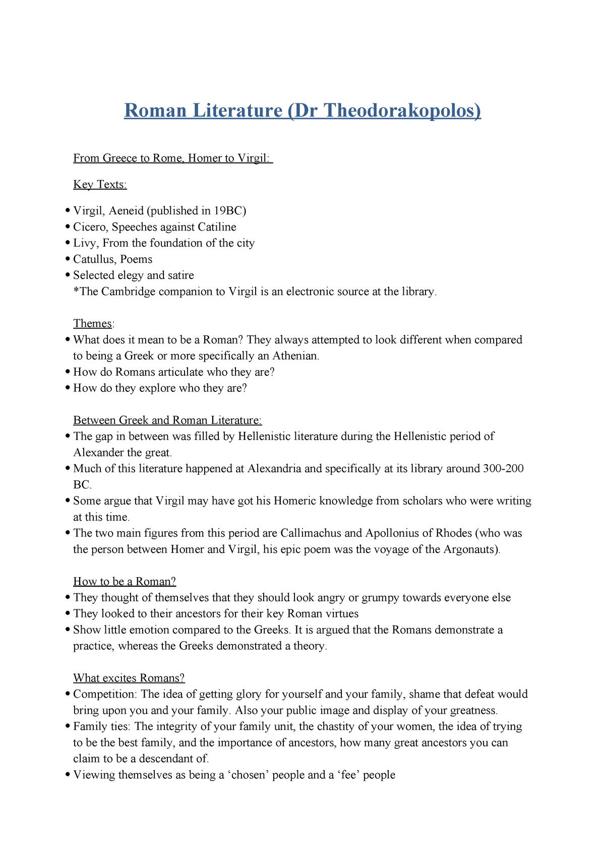 Lecture Notes Lectures Week 1 5 7 9 Roman Literature Studocu