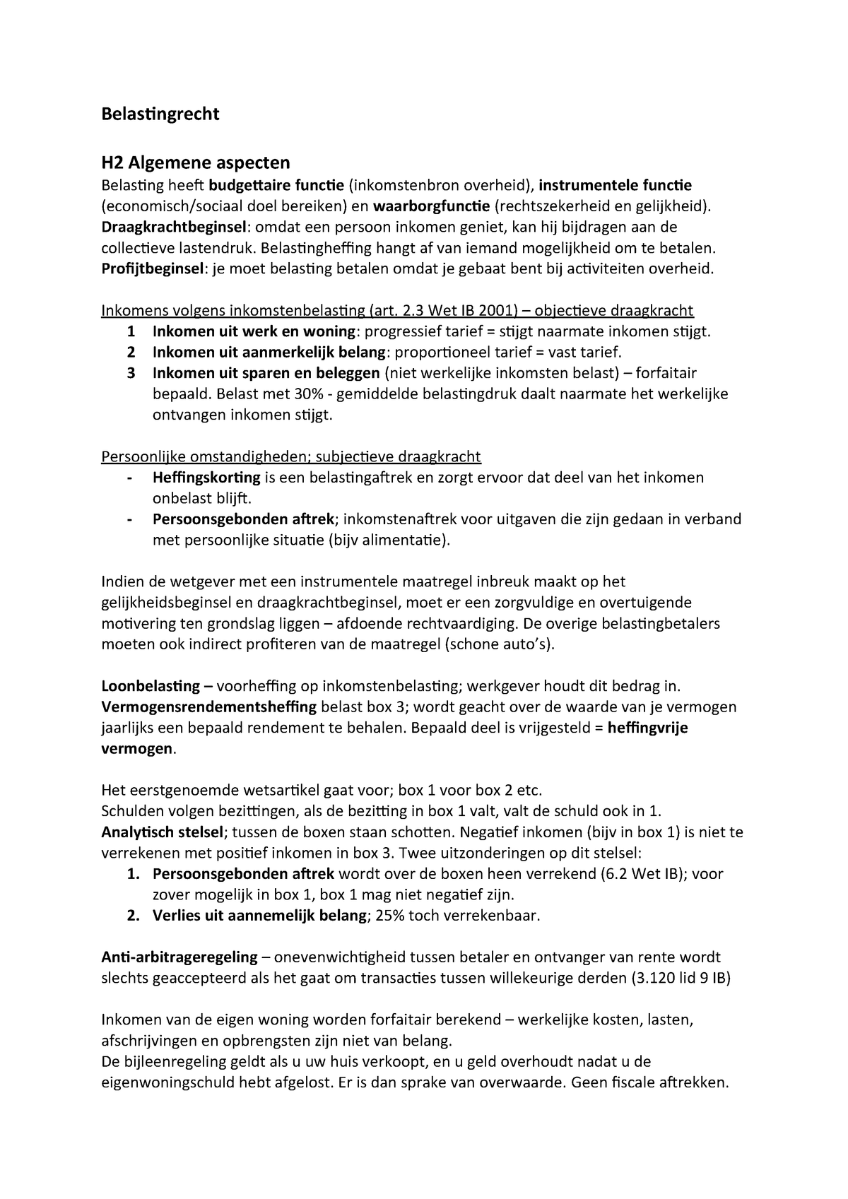 Belastingrecht Samenvatting Jur 2inlbela Studeersnel Nl