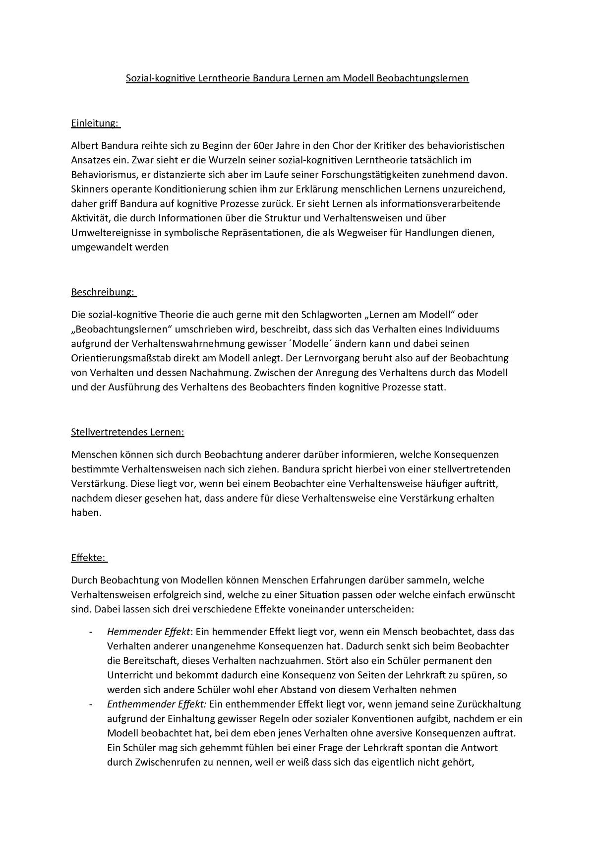 Sozial-kognitive Lerntheorie Bandura Lernen am Modell ...