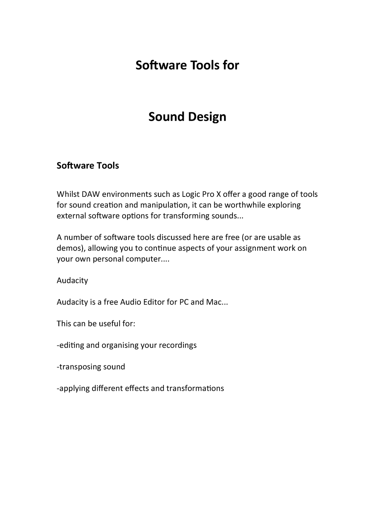 Sound for Moving Image Term 2 Week 5 Lecture - Software Tools for