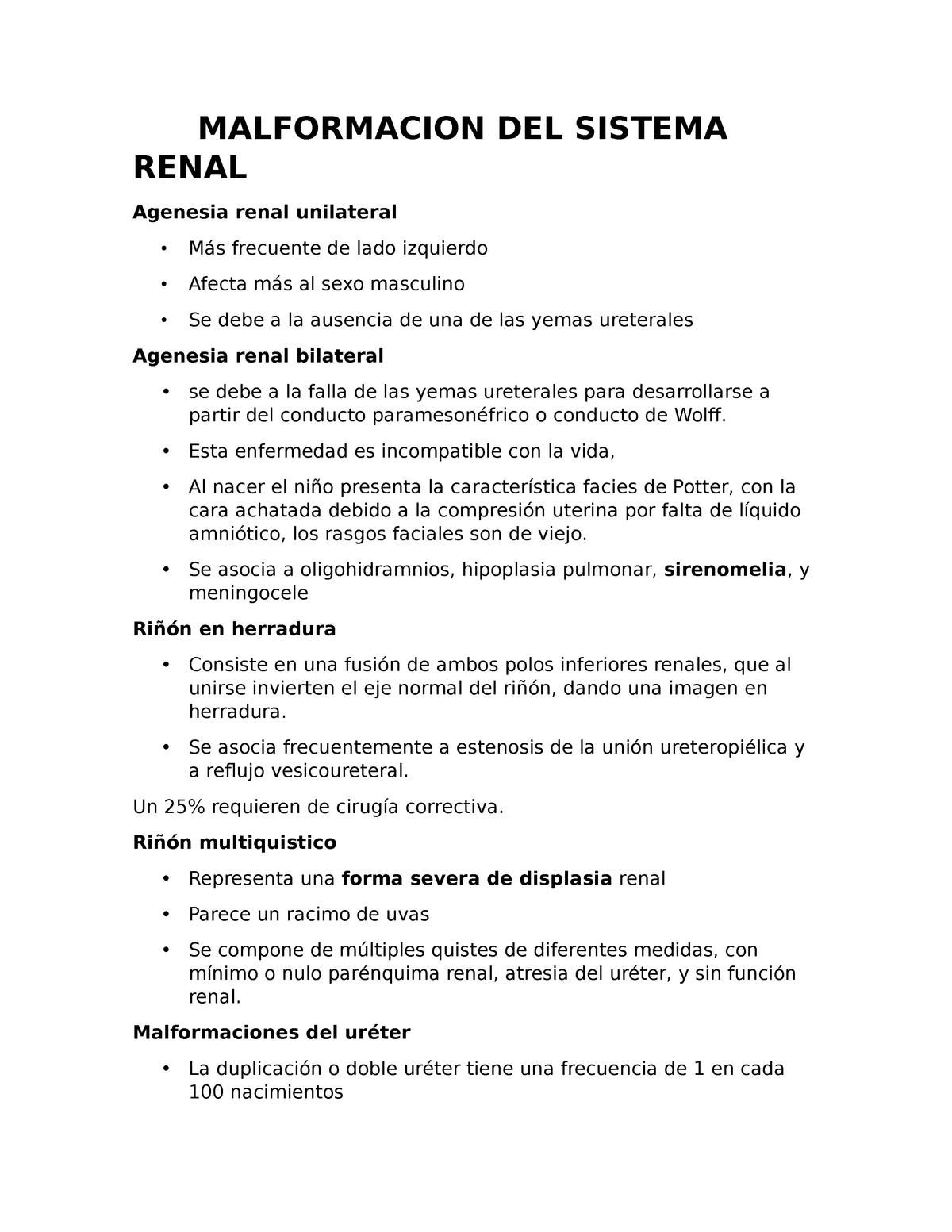 agenesia renal bilateral facesión