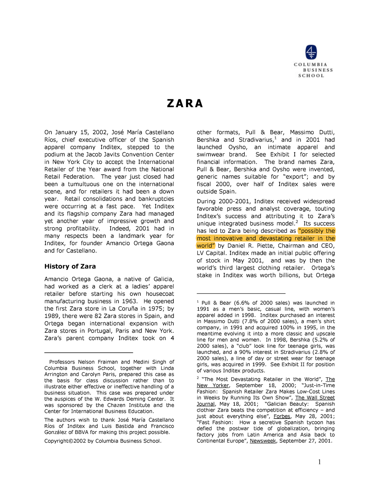 a7ad8748 Zara - Zara case study - BUAD311: Operations Management - StuDocu