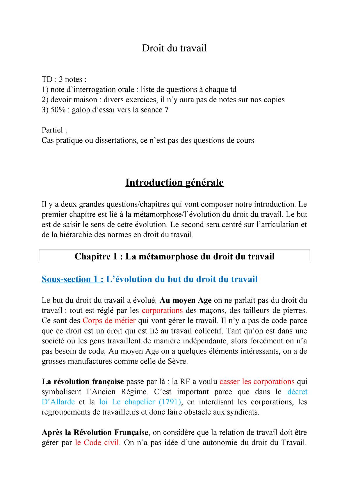Dissertation droit du travail