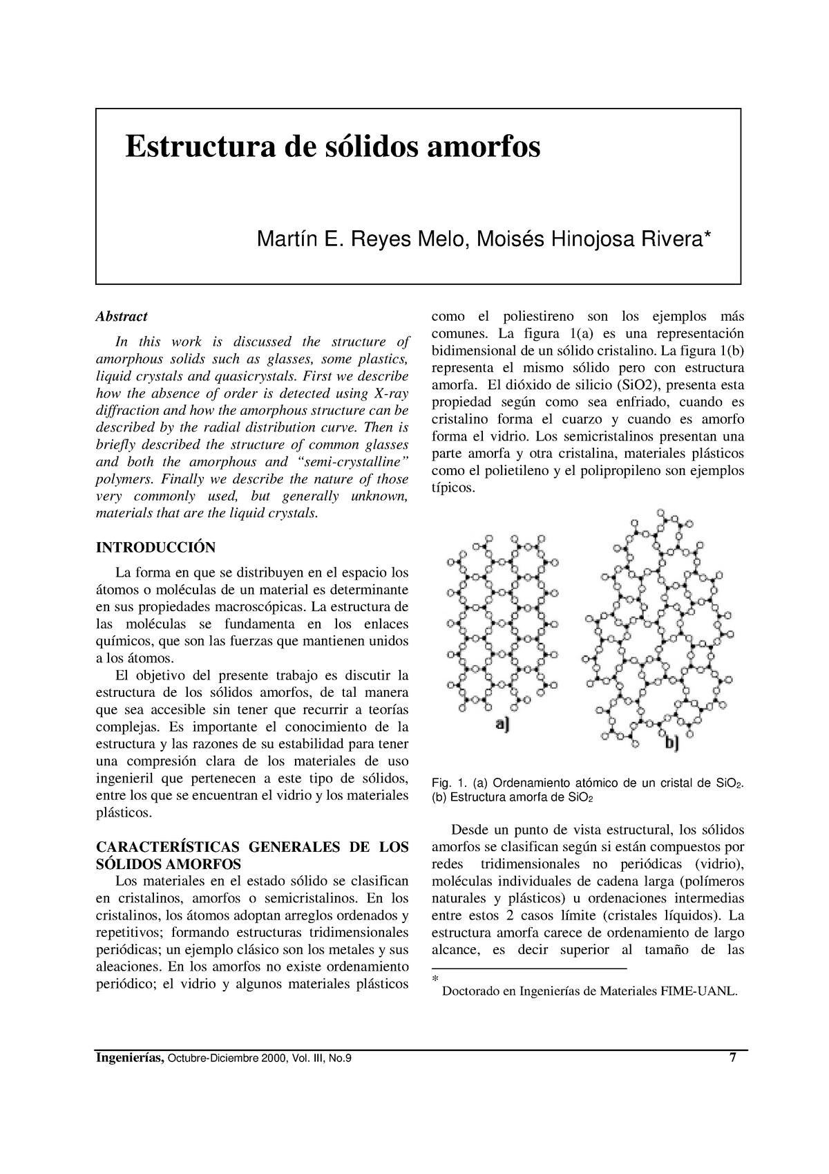 Tema 10 Sólidos Cristalinos Y Amorfos 30027 Unizar Studocu
