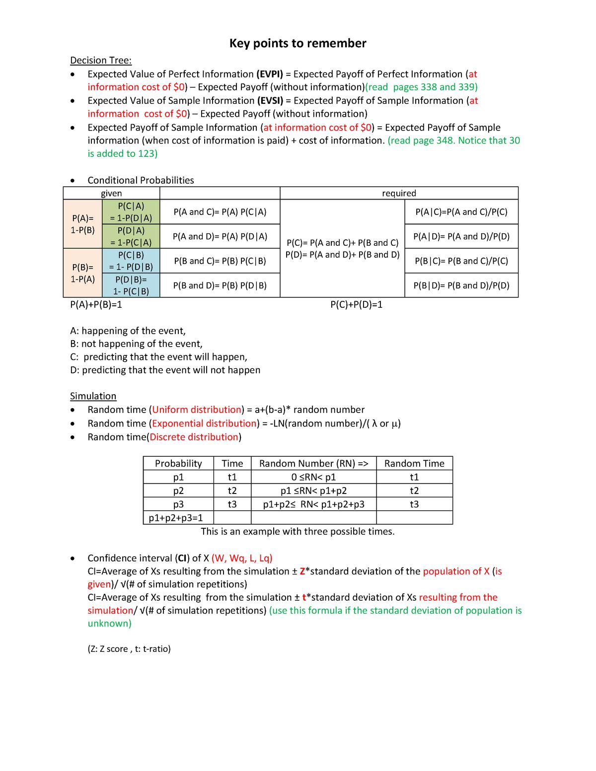 Key Points to Remember - BU375 OperationsB - WLU - StuDocu
