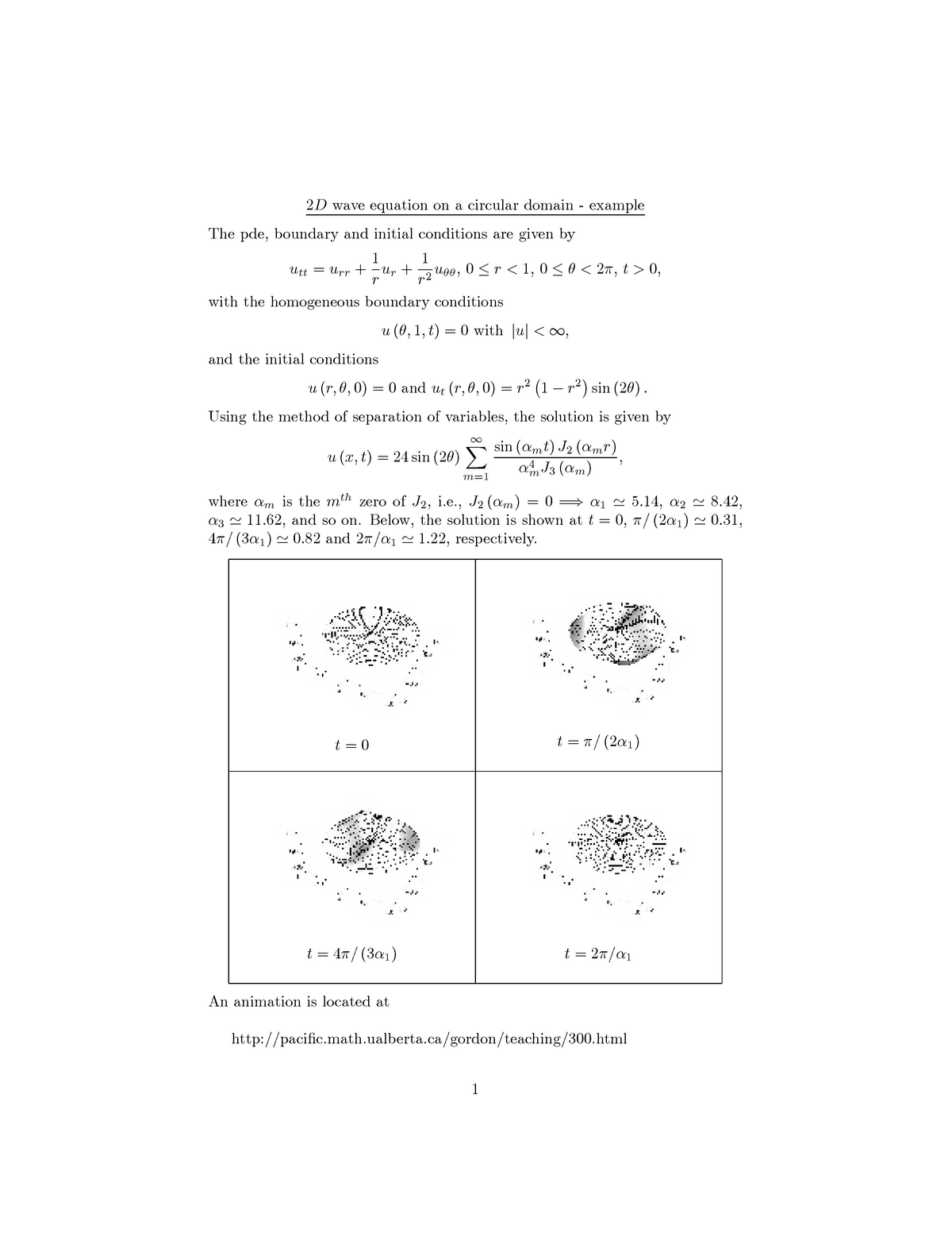 Lecture notes, - 2d wave equation on a circular domain - example