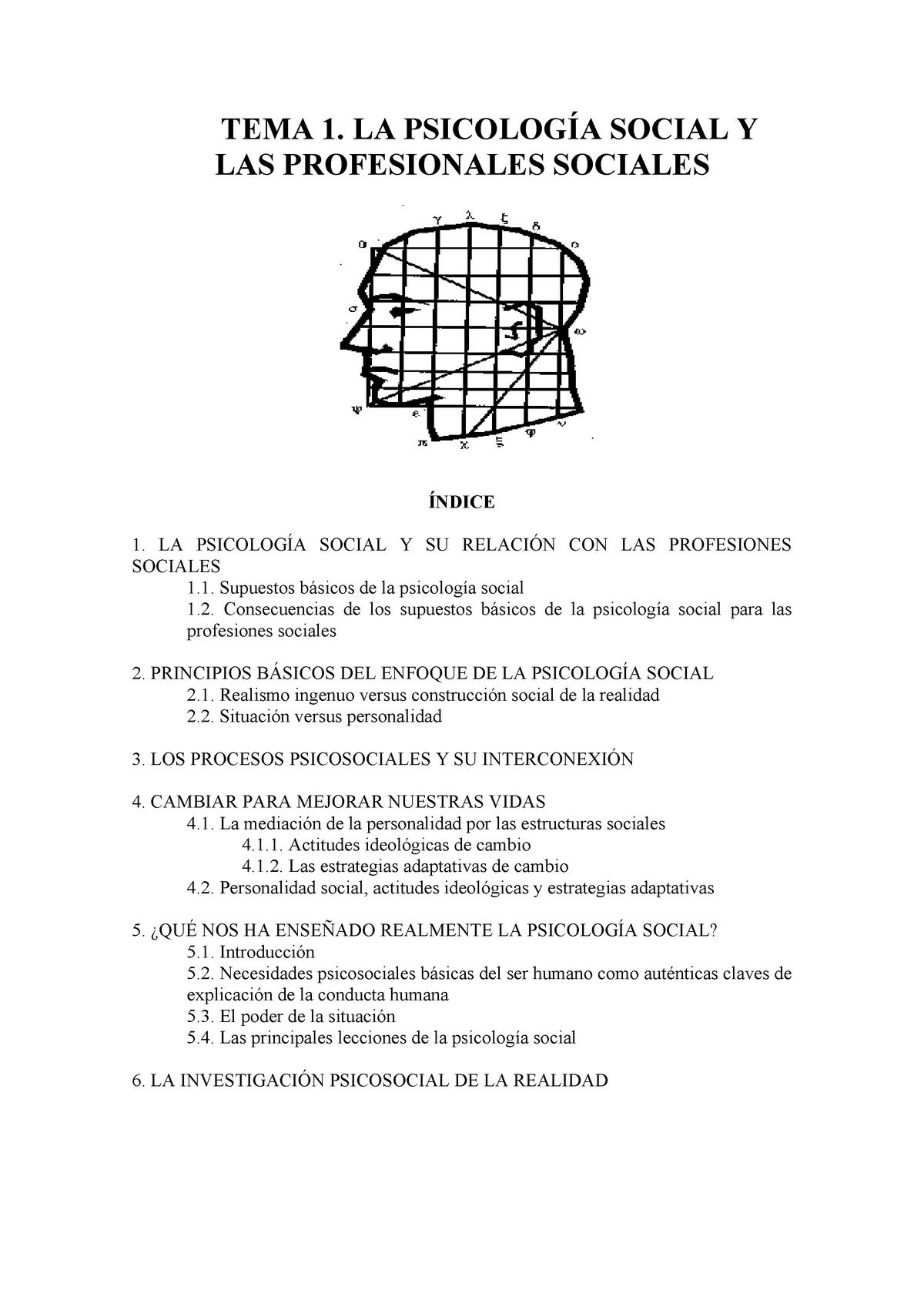 Tema 1 Psicología Social Profesiones Sociales - 41815 - StuDocu