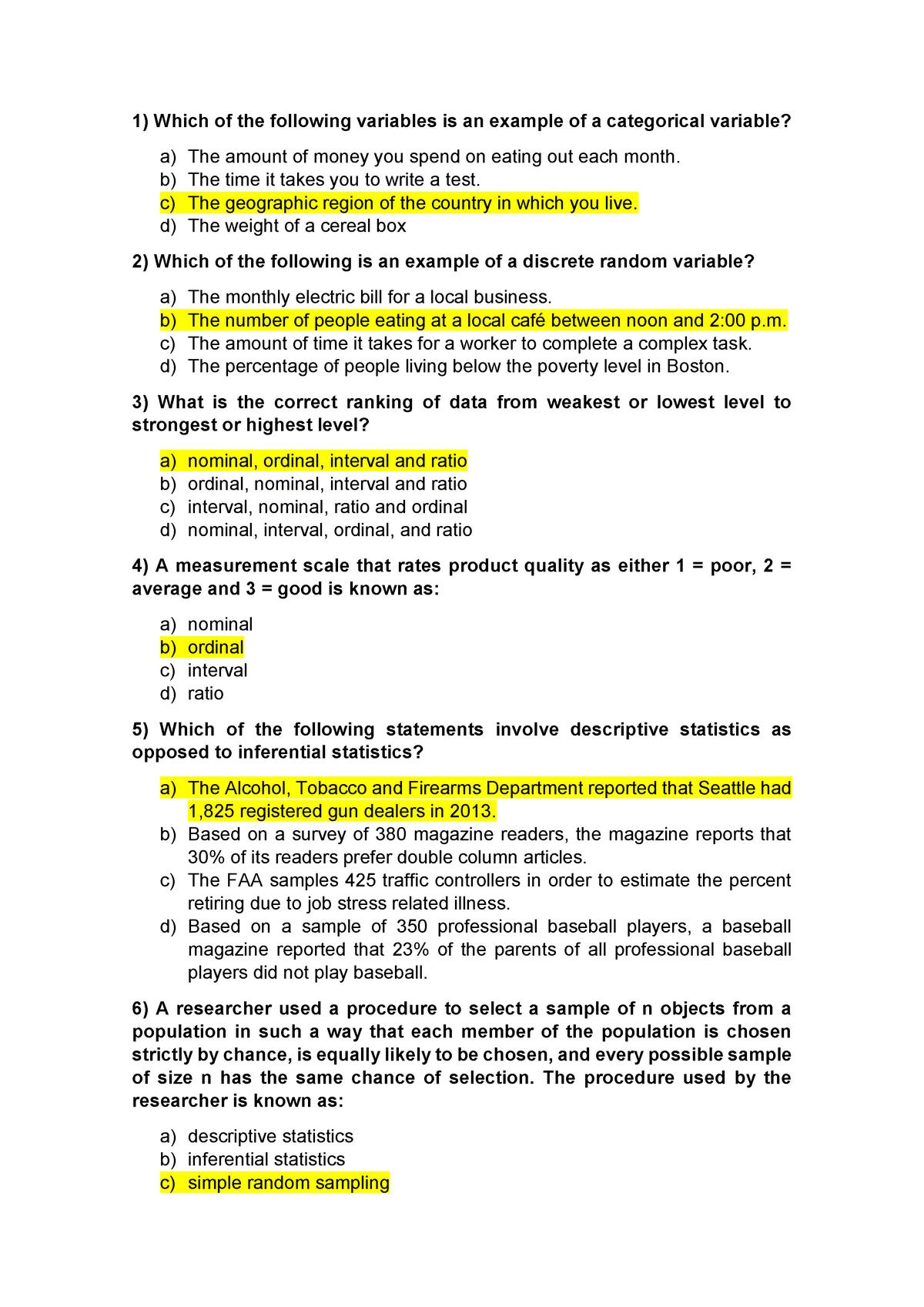 Unit 1 Problem Set - Statistics I - UB - StuDocu