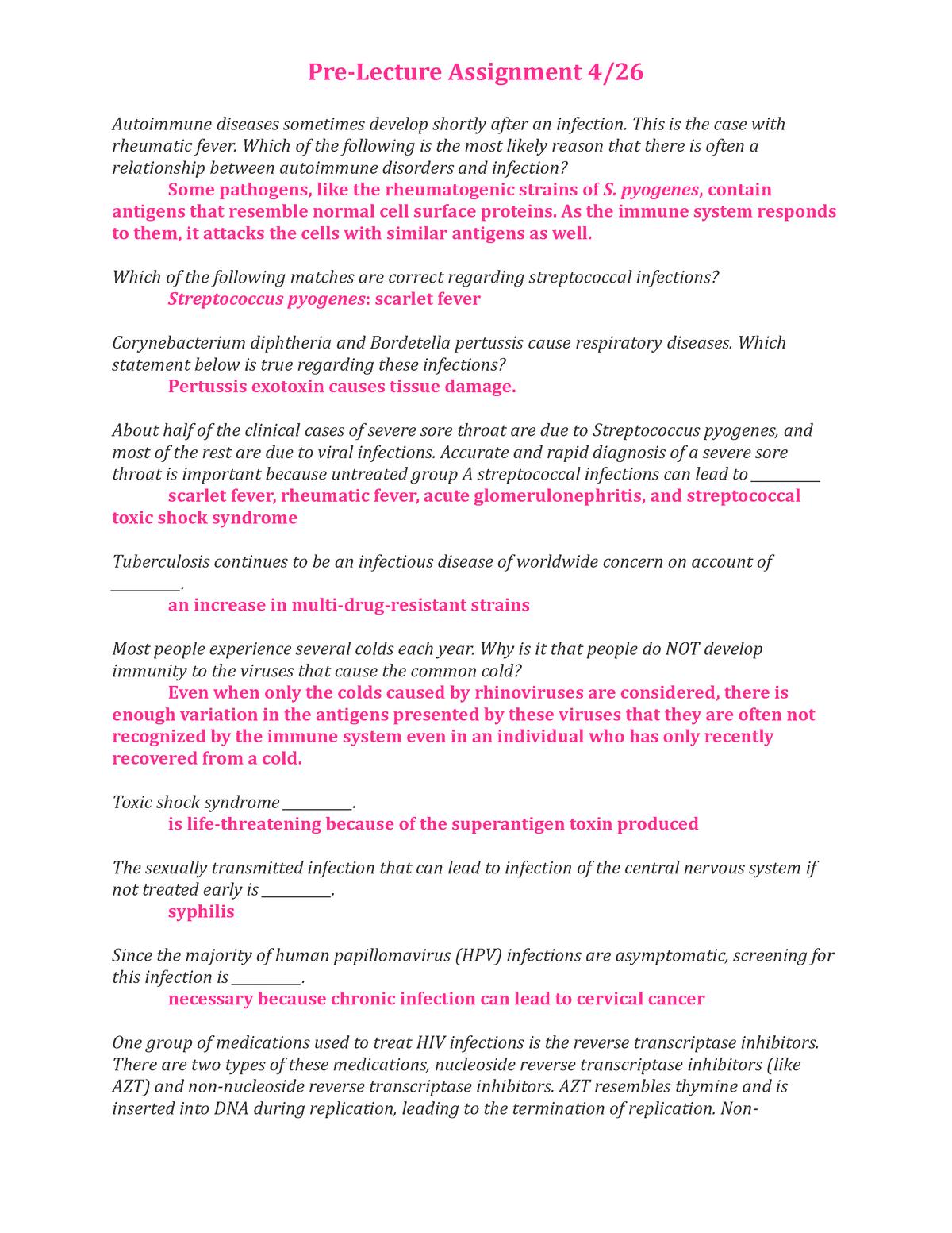 Pre Lecture Assignmnet 4:26 - BIOL 307: Microbiology - StuDocu