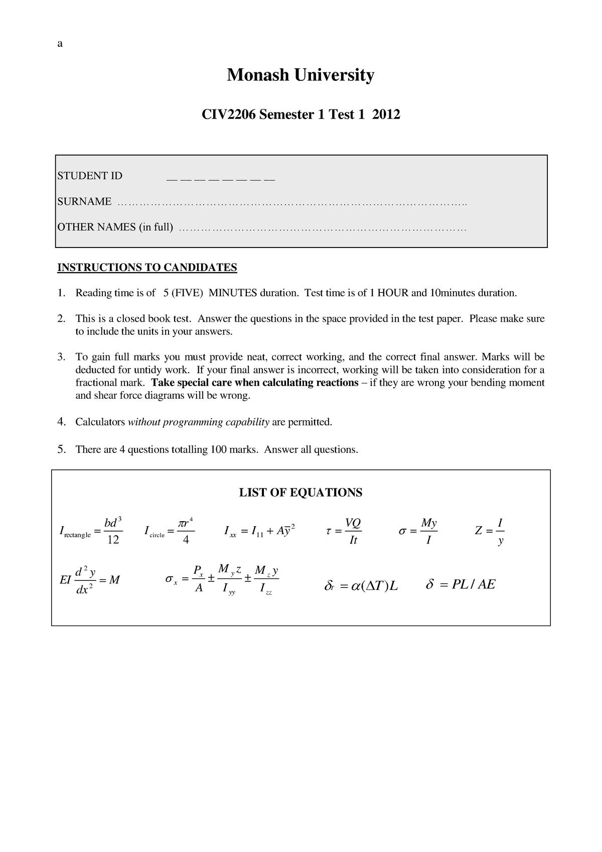 Exam 2012 - CIV2206: Mechanics Of Solids - StuDocu