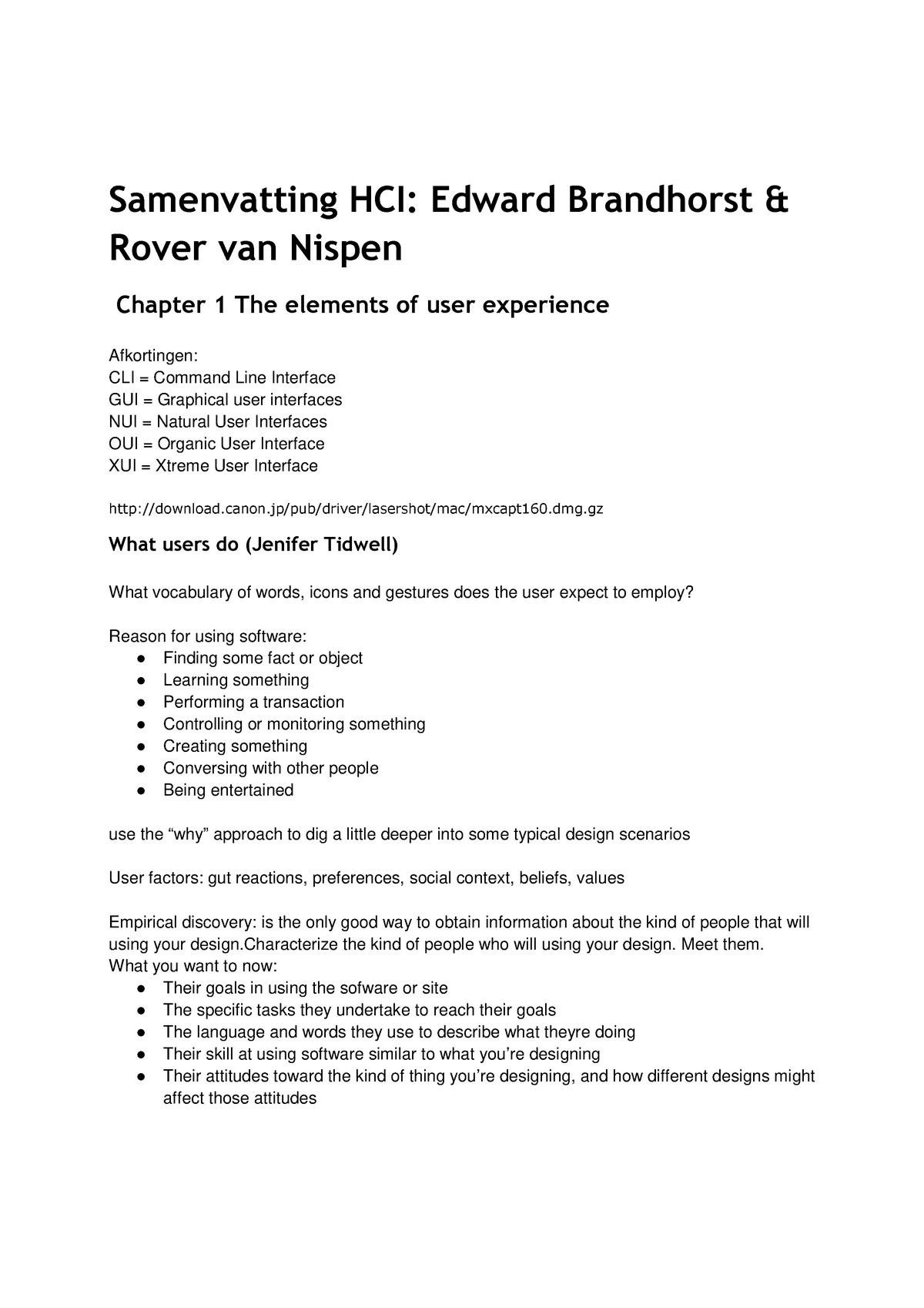 Summary Reader HCI, CMD Amsterdam - 1000DFIH11 - HvA