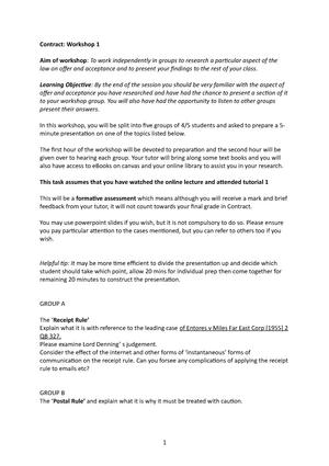 Contract Workshop 1 1 Contract Law Studocu