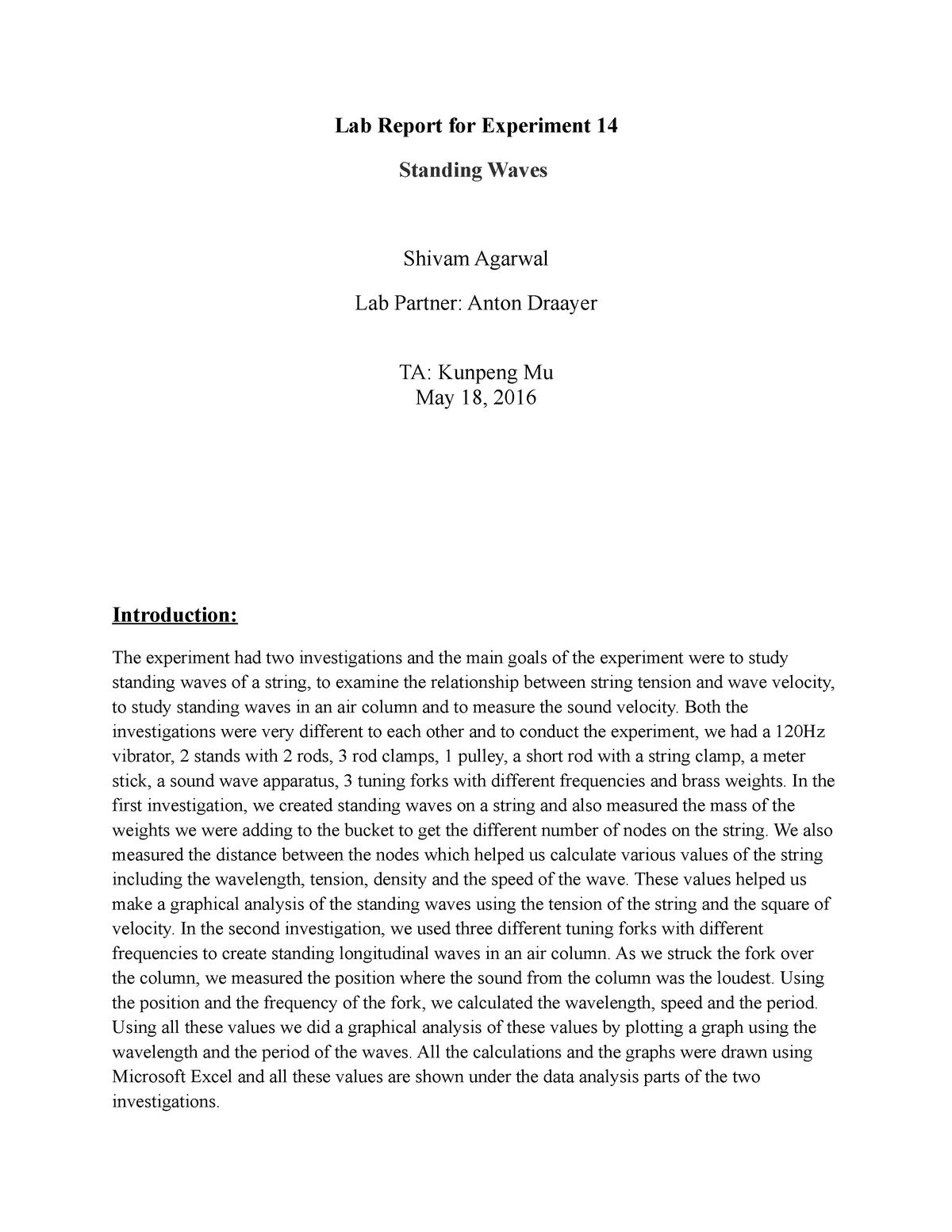 Lab 2 - This is a Lab report for a physics experiment on Standing