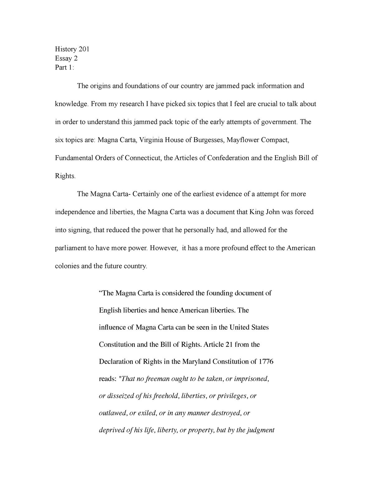 his  essay    his  american history   studocu