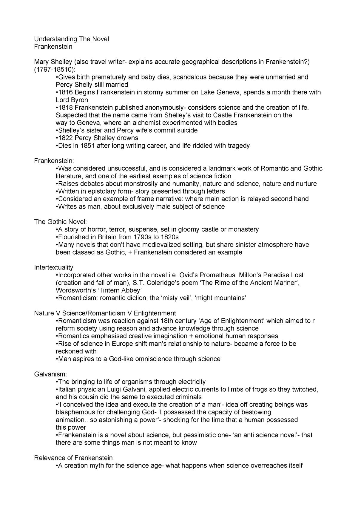 Frankenstein - Lecture notes 1 - ELI1025: UNDERSTANDING THE NOVEL