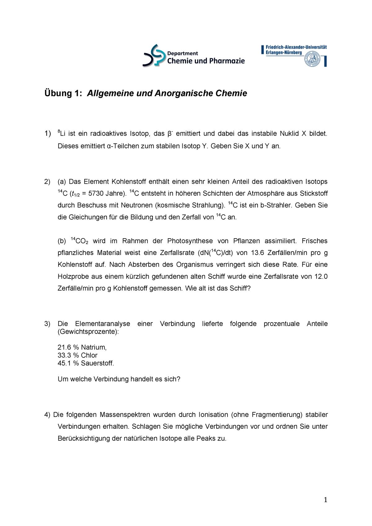 Allgemeine Und Anorganische Chemie übungen Fau Studocu