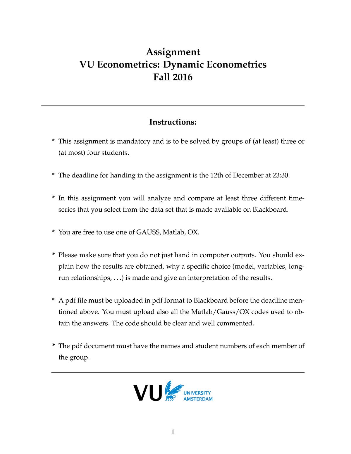 Assignment Dynamic Econometrics - E_EORM_DE: Dynamic