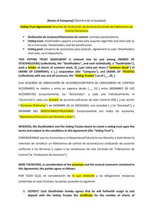 10 Voting Trust Agreement Prctica Profesional C Studocu