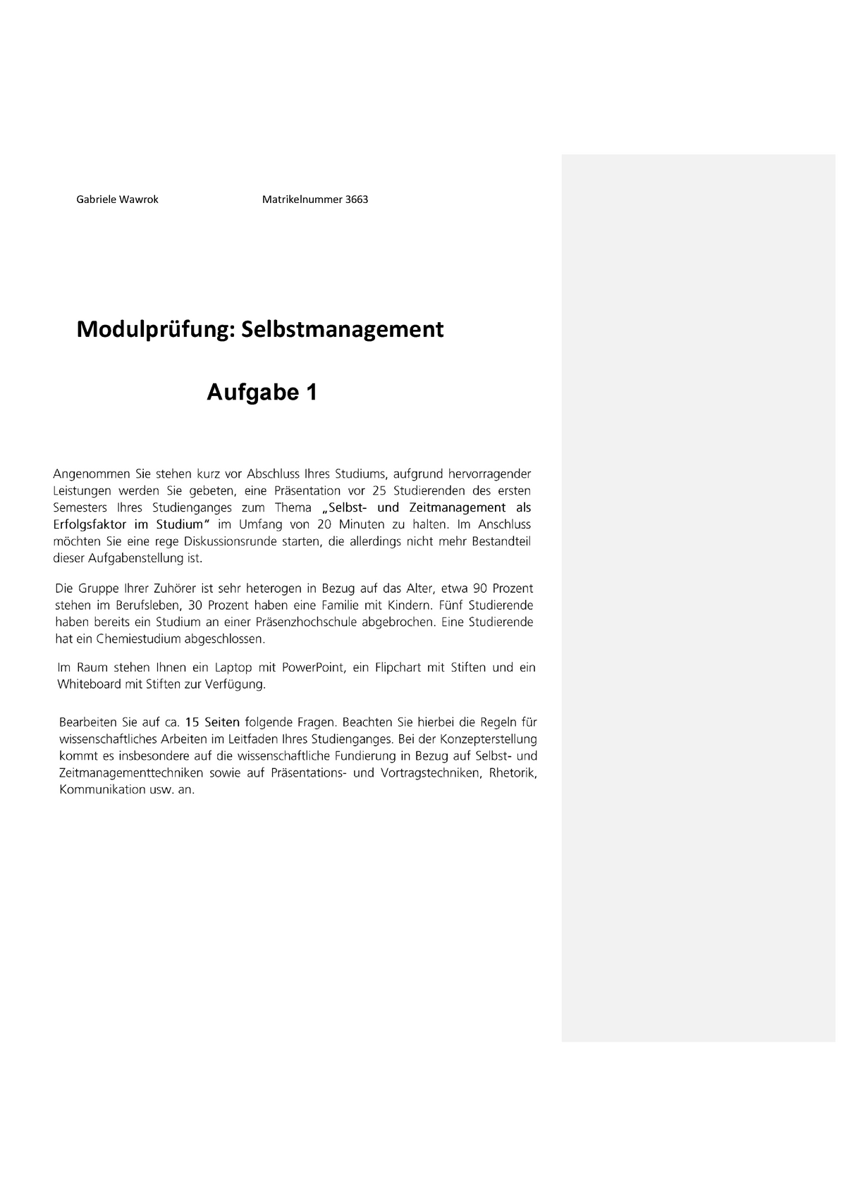 3663 Hausarbeit Selbstmanagement 2aa04 Uni Tuebingen