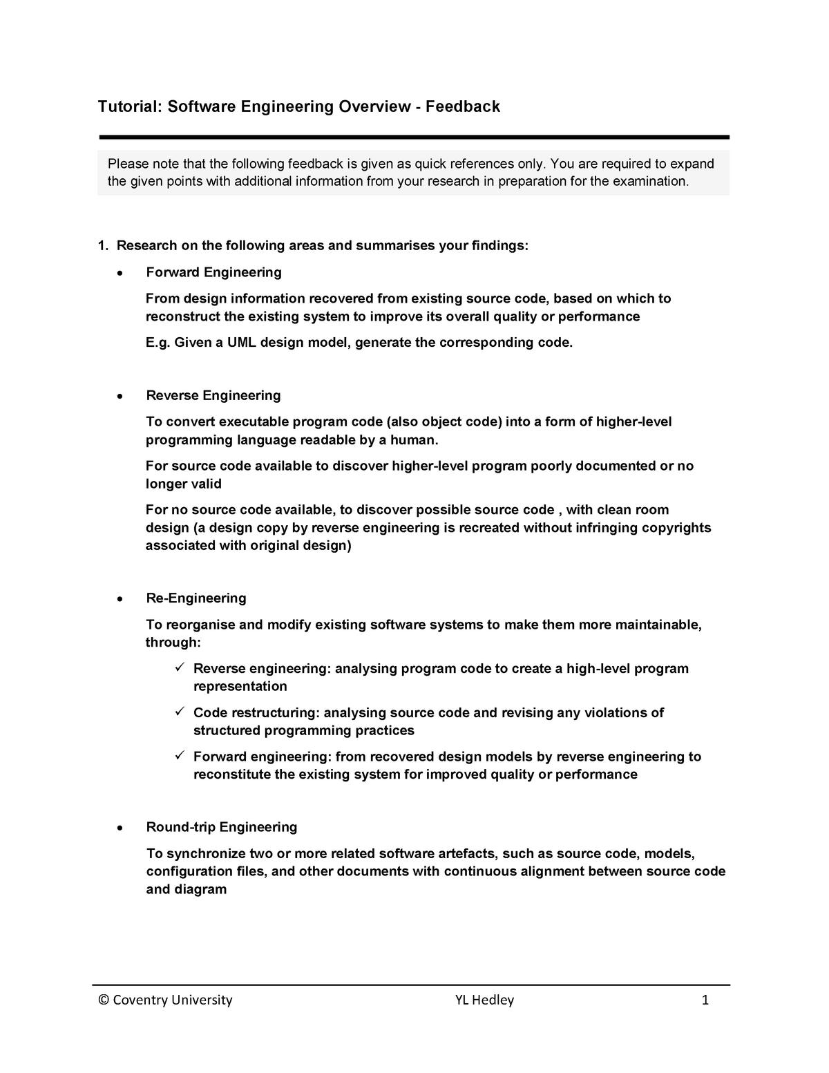 Tutorial Software Engineering Overview Feedback V1 Studocu