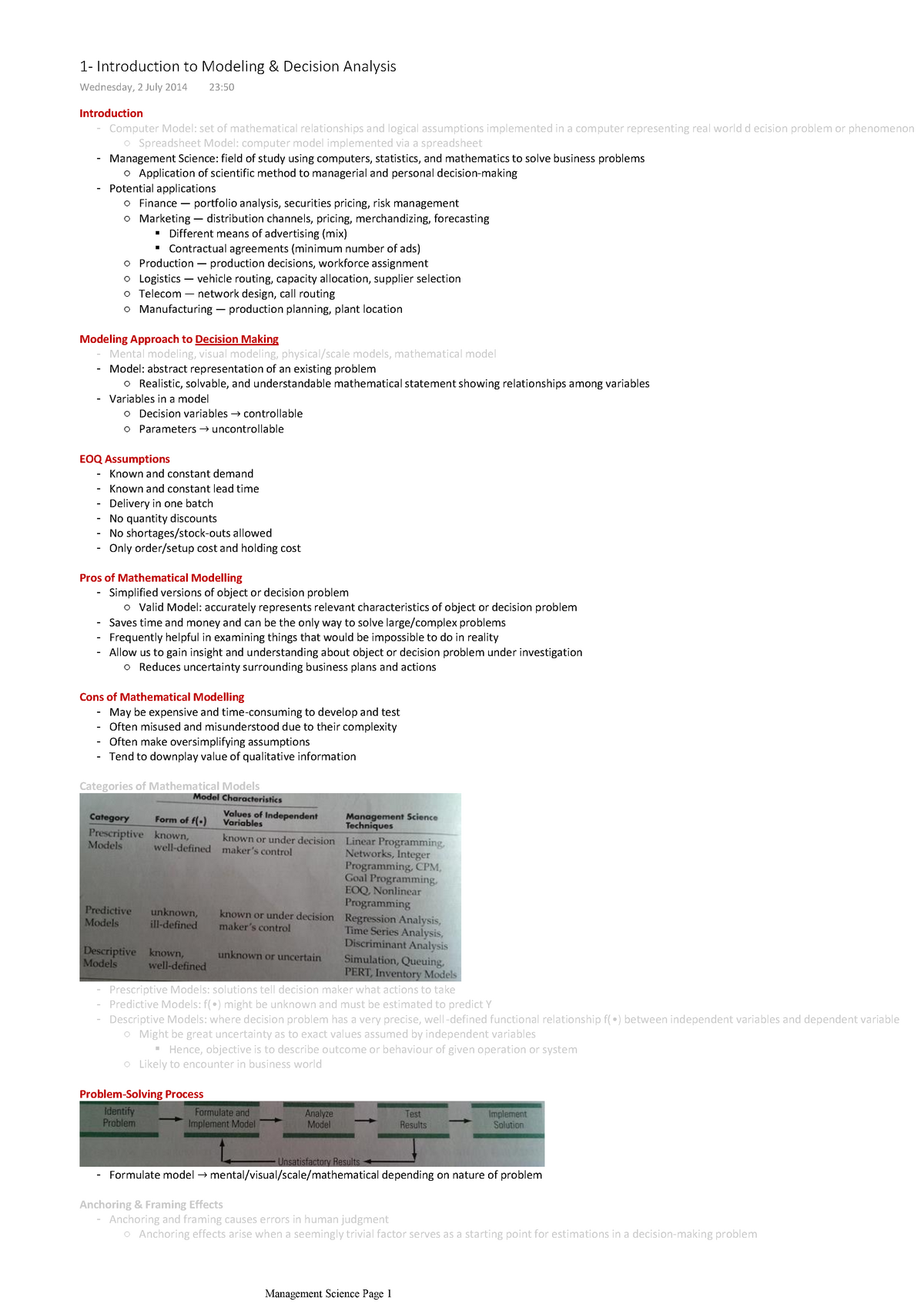 OPIM101 Decision Analysis or Management Science - StuDocu