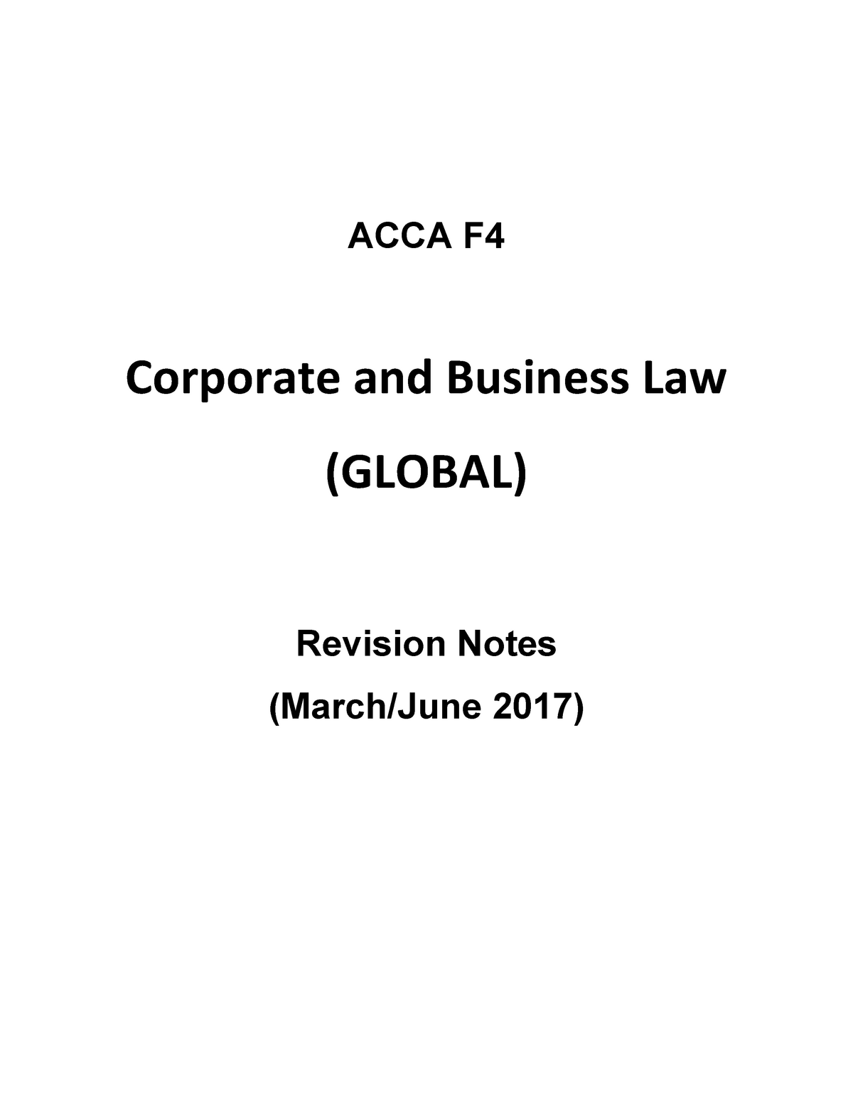 F4 Revision Notes - MGT 265 Business Law - StuDocu