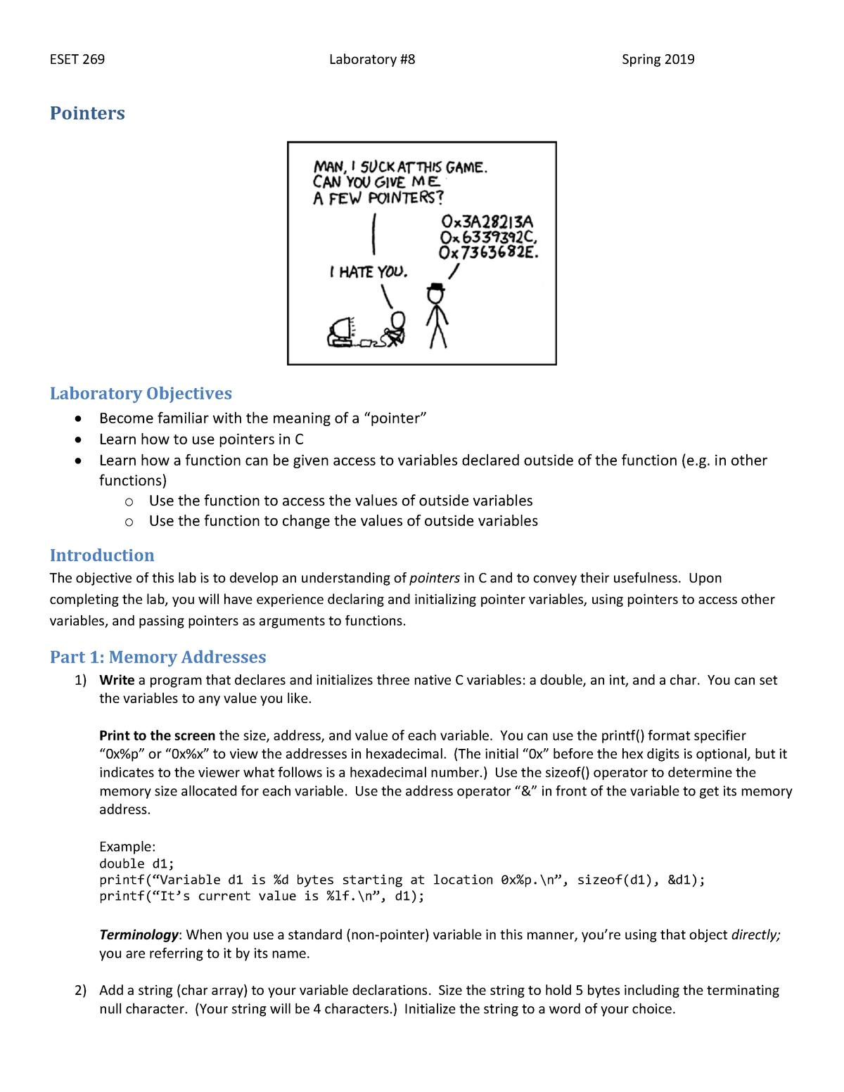Lab 8 - Lab 8 - ESET 269: Introduction to C - StuDocu