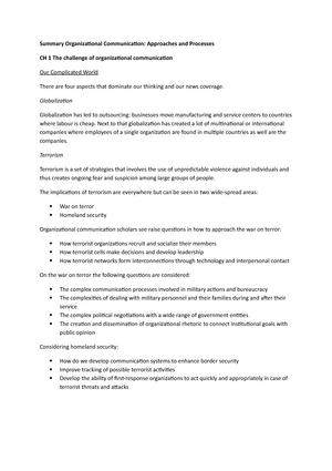 Summary All Chapters Organizational Communication W Organizational