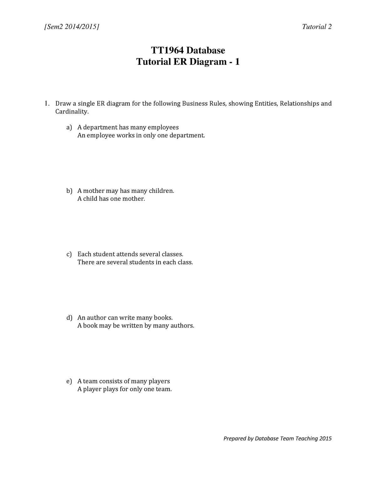 Tutorial 2 Database - TTTT1964: Database - StuDocu