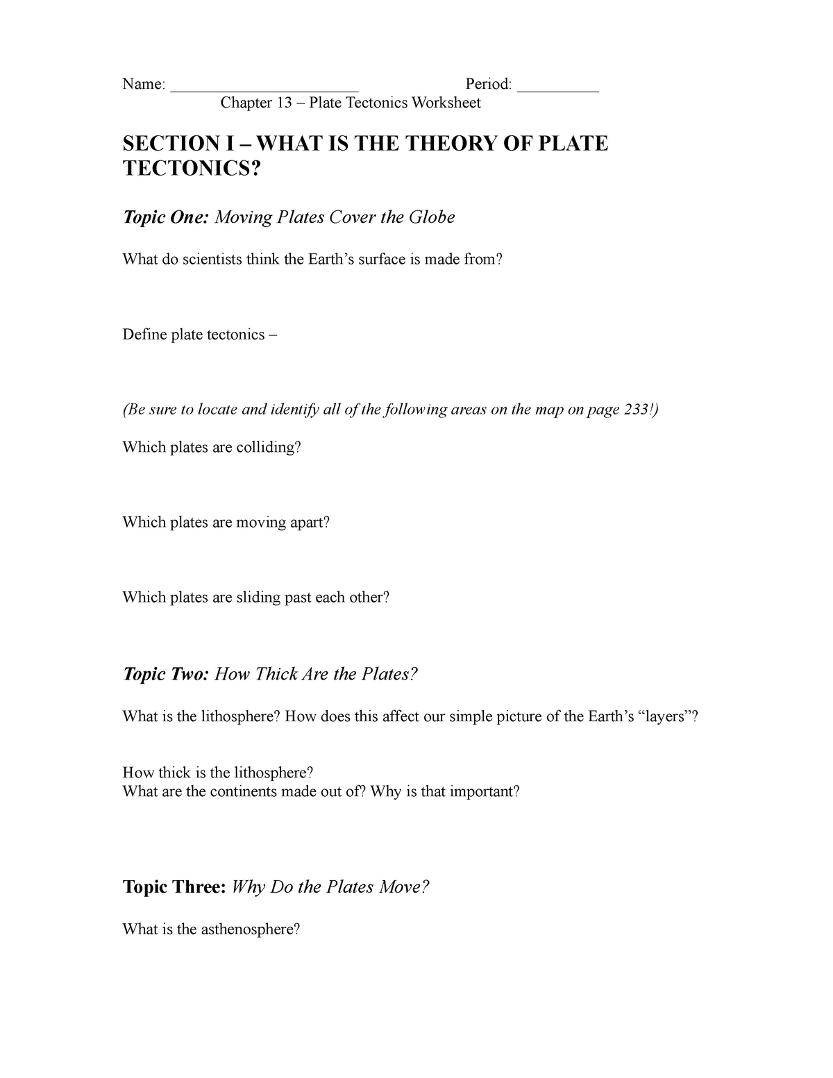 Chapter 13 Plate Tectonics Worksheet Name Chapter 13 Plate Tectonics Worksheetperiod Section What Is The Theory Of Plate Tectonics Topic One Moving Plates Cover Studocu [ 1553 x 1200 Pixel ]