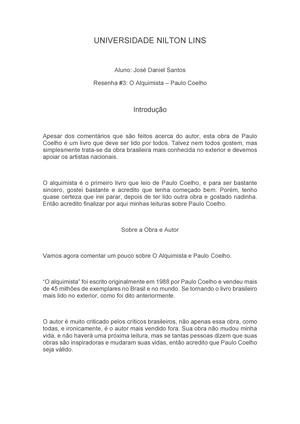 UNL – O Alquimista - Resumo sobre o livro mais famoso do