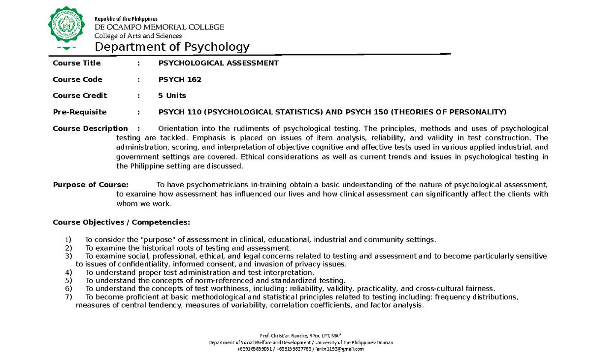 Psychological Assessment Syllabi - Psychological Assess