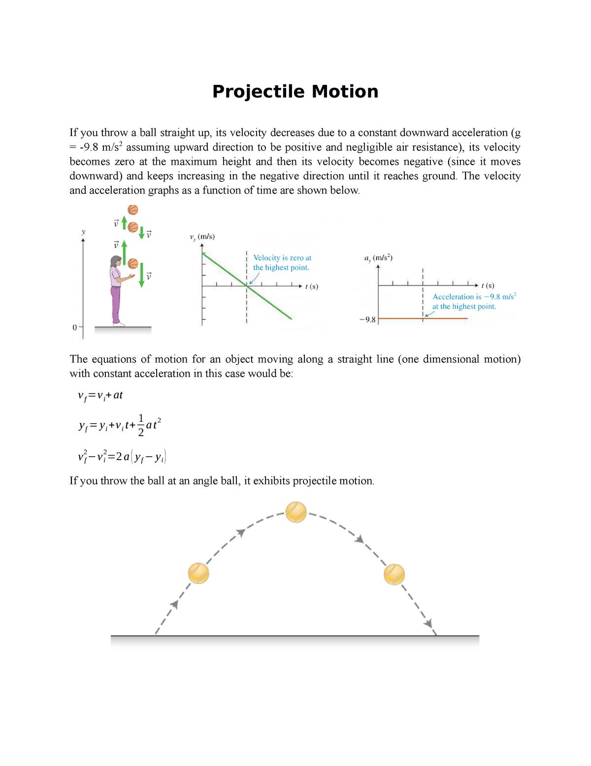 Projectile Motion - 1401 Physics I - StuDocu