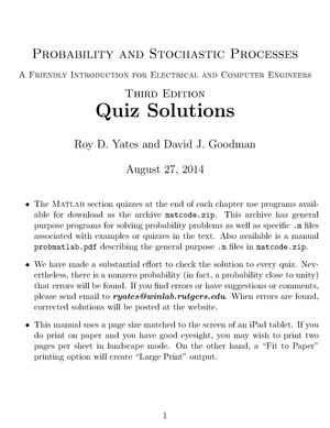 EE102 textbook quizes - Solution manual Probability and