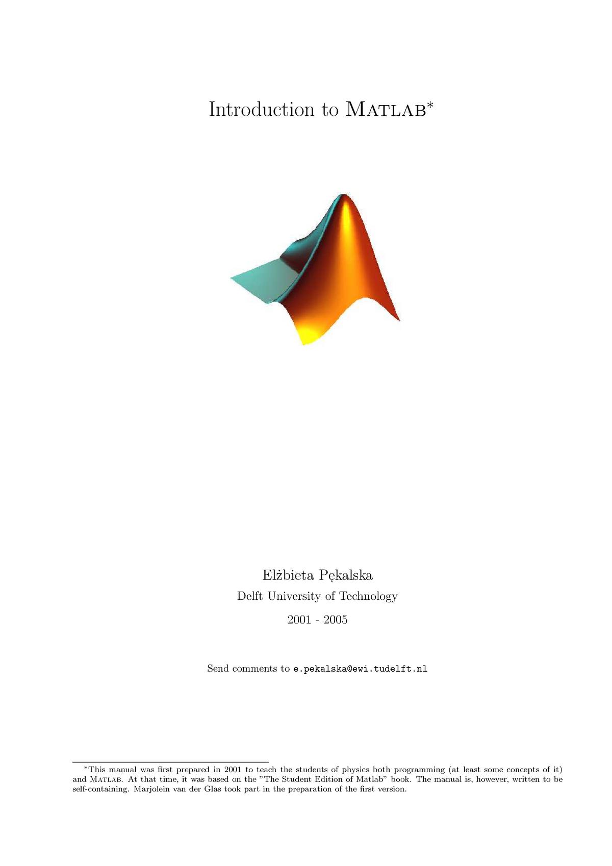 Matlab instruction for the beginner - WB2230-15: Systeem en
