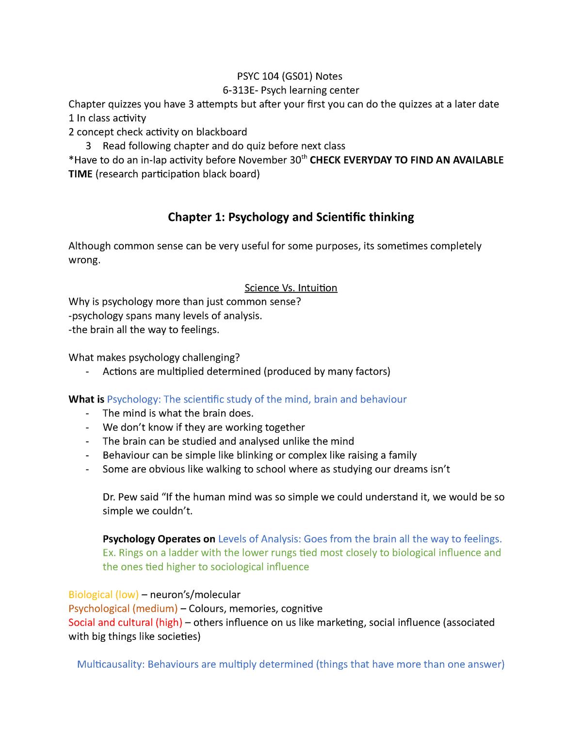 PSYC 104 Notes - 10142: Introductory Psychology I (Psyc 104) - StuDocu
