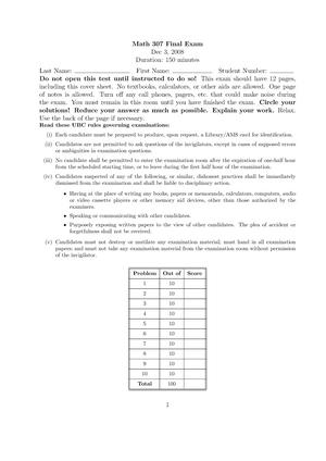 Exam 2008 - MATH 307: Applied Linear Algebra - StuDocu